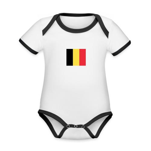 vlag be - Baby contrasterend bio-rompertje met korte mouwen