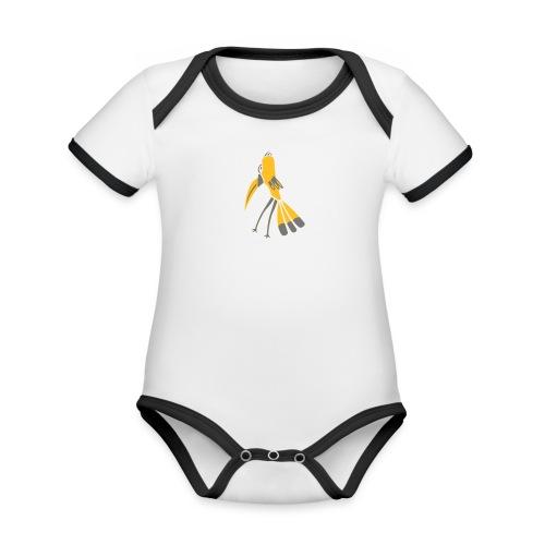 Gelb-Schnabel-Vogel - Baby Bio-Kurzarm-Kontrastbody