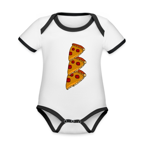 pizza - Kortærmet økologisk babybody i kontrastfarver