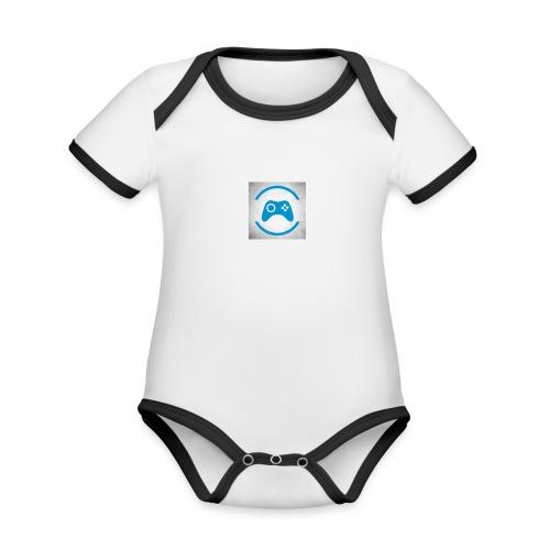 mijn logo - Baby contrasterend bio-rompertje met korte mouwen