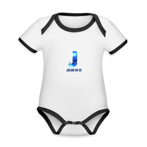 JULIAN EN CO MERCH - Baby contrasterend bio-rompertje met korte mouwen