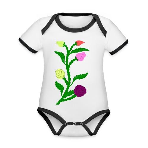 fleurs - Body Bébé bio contrasté manches courtes