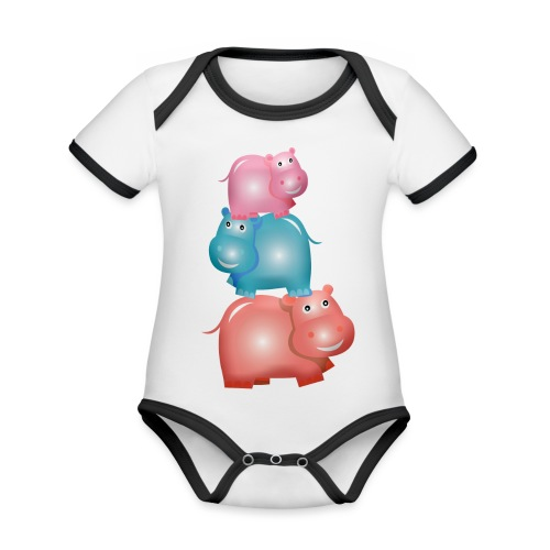 Tierturm aus drei Hippos - Baby Bio-Kurzarm-Kontrastbody