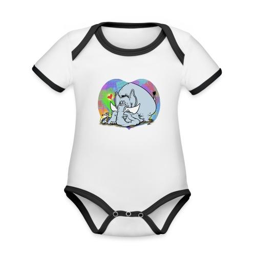 Vänfant - Ekologisk kontrastfärgad kortärmad babybody
