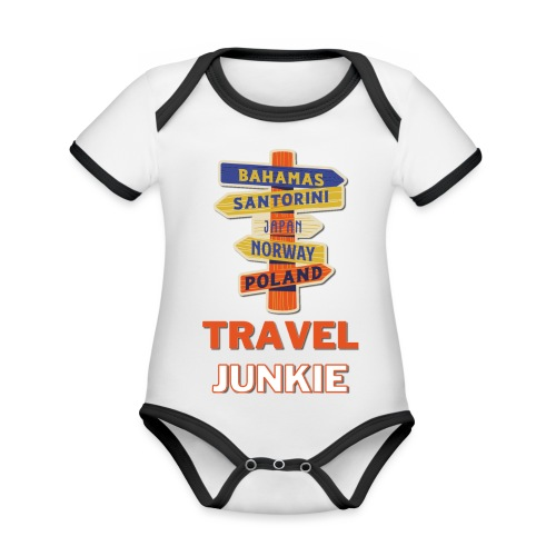 traveljunkie - i like to travel - Baby Bio-Kurzarm-Kontrastbody