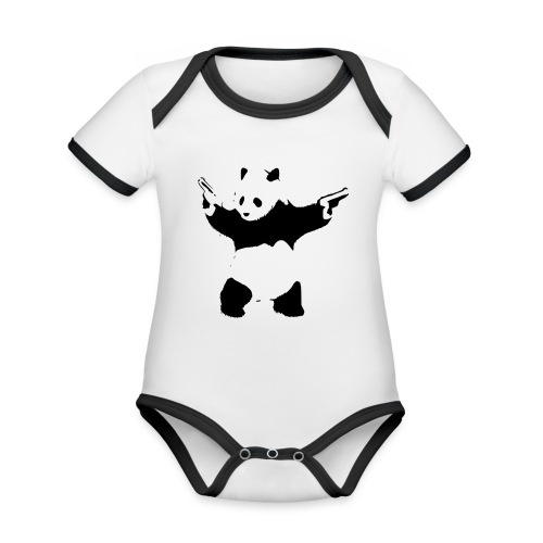 oso panda pistolas - Body contraste para bebé de tejido orgánico