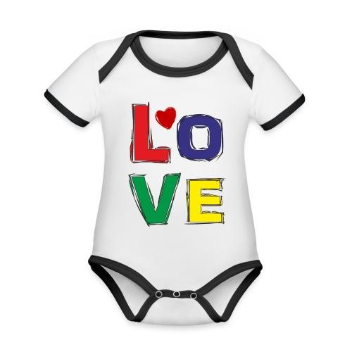 LOVE - Baby Bio-Kurzarm-Kontrastbody