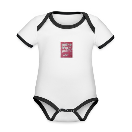Make peace not war - Ekologisk kontrastfärgad kortärmad babybody