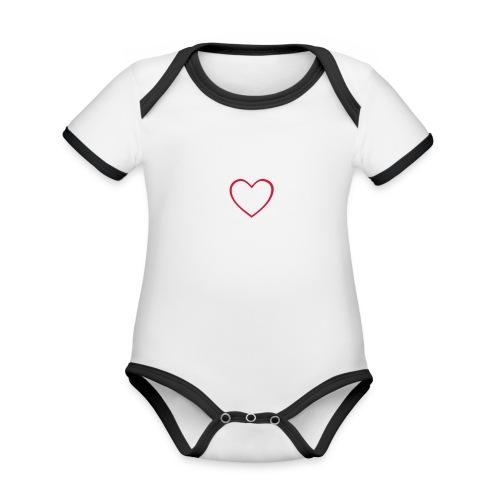 Hjärta 4 - Ekologisk kontrastfärgad kortärmad babybody