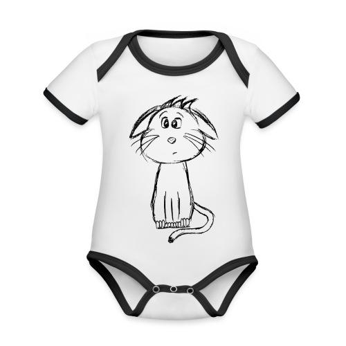 Kissa Kissanpentu musta scribblesirii - Vauvan kontrastivärinen, lyhythihainen luomu-body
