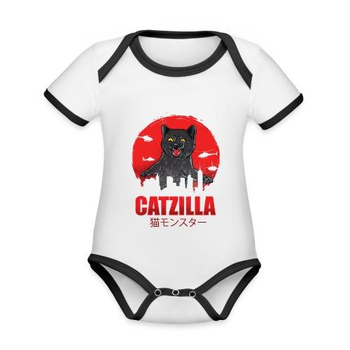 Catzilla Katzen Horror B-Movie Parodie - Baby Bio-Kurzarm-Kontrastbody