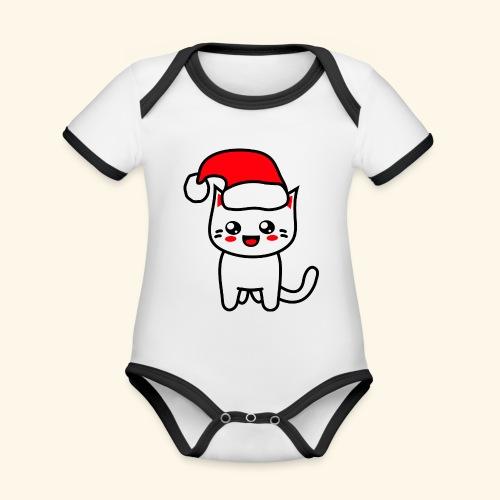 Kawaii Kitteh Christmashat - Baby Bio-Kurzarm-Kontrastbody