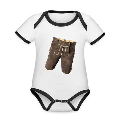 Lederhose - Baby Bio-Kurzarm-Kontrastbody