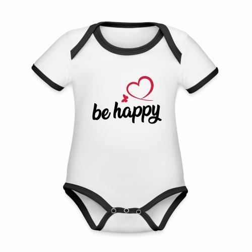 be happy - Baby Bio-Kurzarm-Kontrastbody