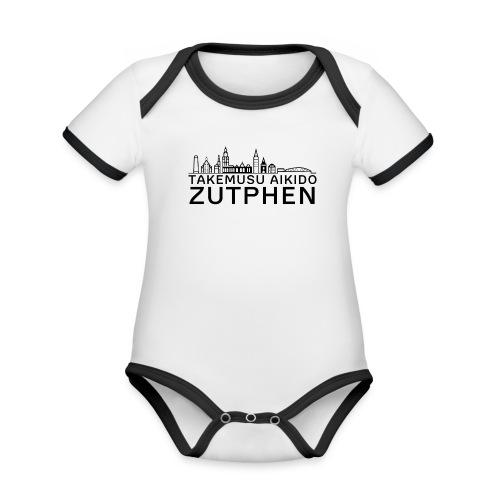 stadsgezicht Zutphen - Baby contrasterend bio-rompertje met korte mouwen