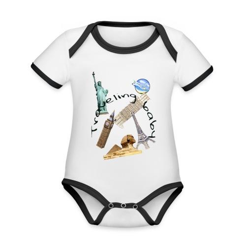 Traveling baby - Ekologisk kontrastfärgad kortärmad babybody