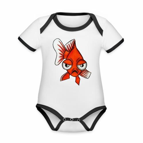 Boze vis - Baby contrasterend bio-rompertje met korte mouwen