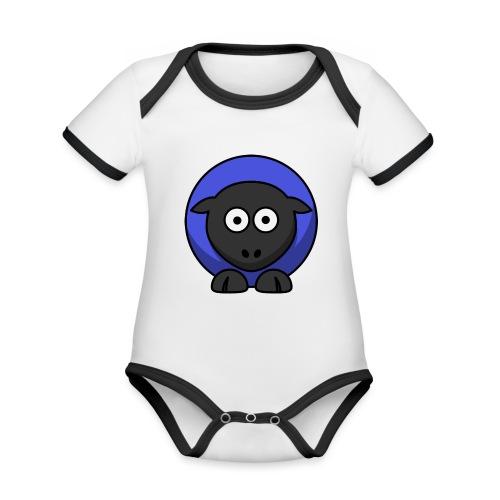 schaap - Baby contrasterend bio-rompertje met korte mouwen
