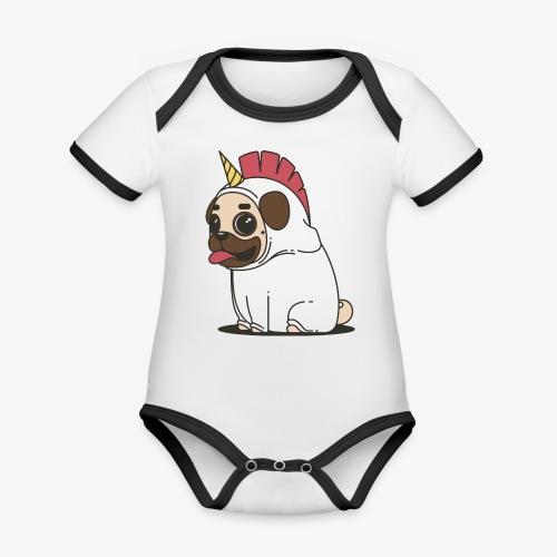unicorn pug - Organic Baby Contrasting Bodysuit