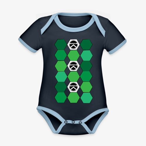 |K·CLOTHES| HEXAGON ESSENCE GREENS & WHITE - Body contraste para bebé de tejido orgánico