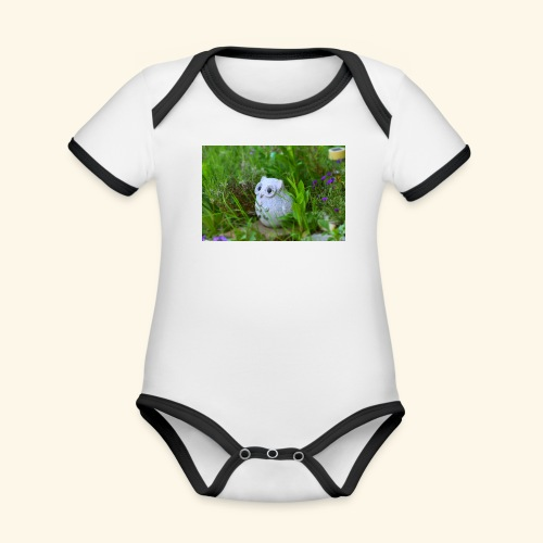 Eule - Baby Bio-Kurzarm-Kontrastbody