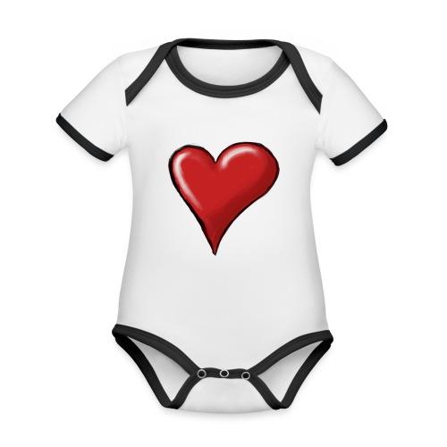 Love (coeur) - Body Bébé bio contrasté manches courtes