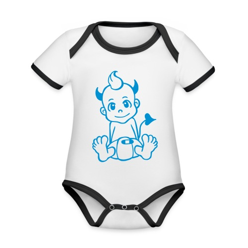 Kleiner Teufel - Baby Bio-Kurzarm-Kontrastbody