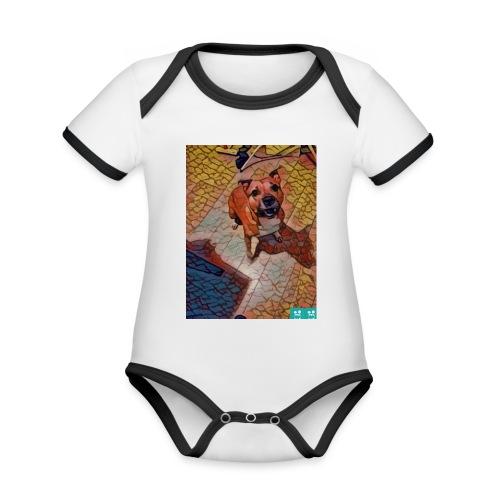 Foxy in kleur - Baby contrasterend bio-rompertje met korte mouwen
