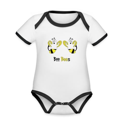Boo Bees Halloween - Vauvan kontrastivärinen, lyhythihainen luomu-body
