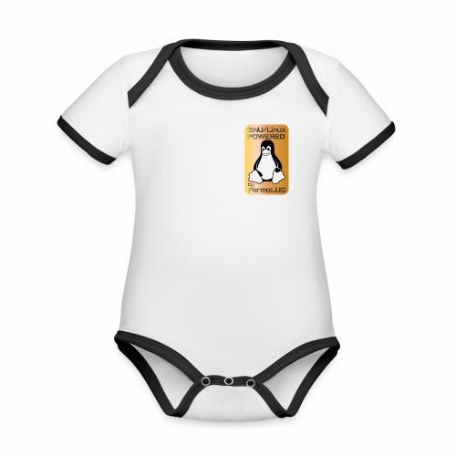 GNU/Linux Powered by FermoLUG - Body da neonato a manica corta, ecologico e in contrasto cromatico