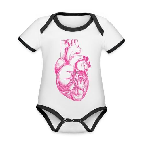 COEUR HUMAIN - Body Bébé bio contrasté manches courtes