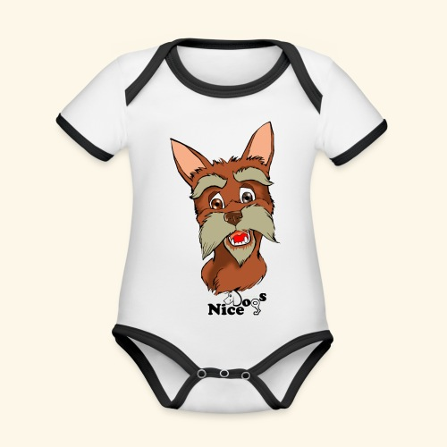 Nice Dogs schnauzer 2 - Body da neonato a manica corta, ecologico e in contrasto cromatico