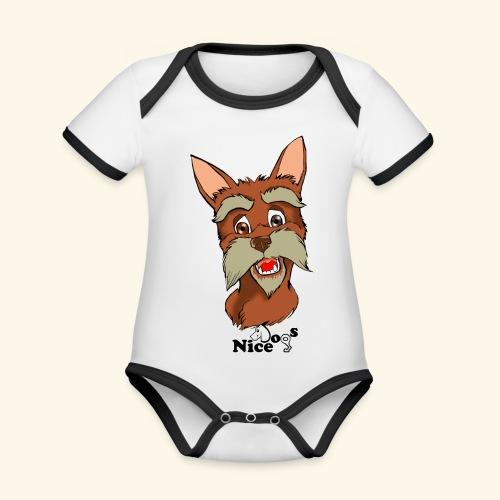 Nice Dogs schnauzer - Body da neonato a manica corta, ecologico e in contrasto cromatico