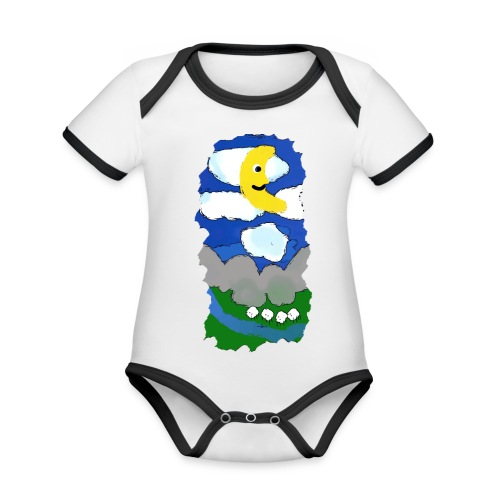 smiling moon and funny sheep - Organic Baby Contrasting Bodysuit
