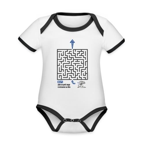 Aidez le petit ange... - Body Bébé bio contrasté manches courtes