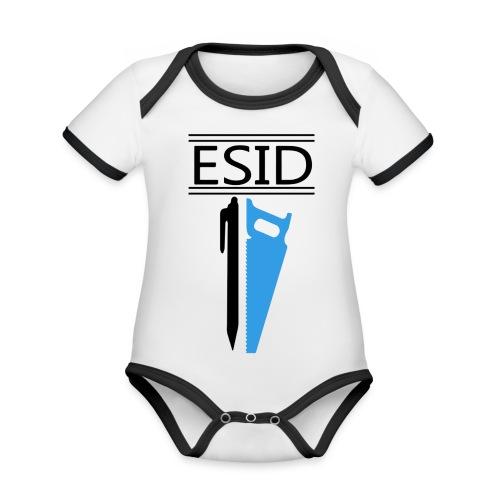 ESID Zwart-blauw - Baby contrasterend bio-rompertje met korte mouwen