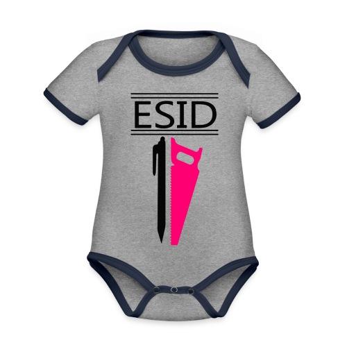 ESID Zwart-roze - Baby contrasterend bio-rompertje met korte mouwen