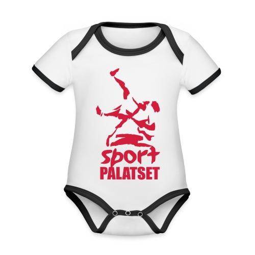 Motiv med röd logga - Ekologisk kontrastfärgad kortärmad babybody