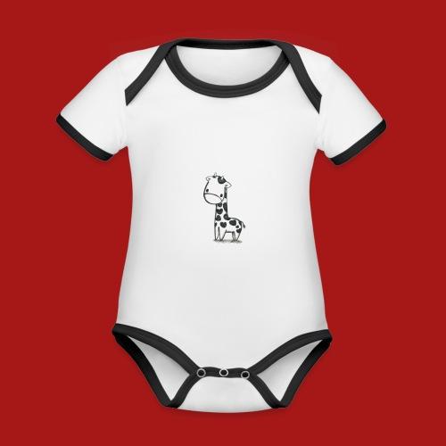 CuteBaby Giraf - Kortærmet økologisk babybody i kontrastfarver