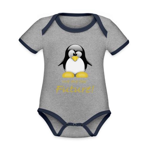 pinguin we are the future - Body da neonato a manica corta, ecologico e in contrasto cromatico