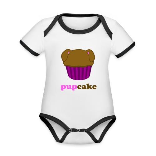 pupcake roze - Baby contrasterend bio-rompertje met korte mouwen