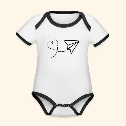 Vliegtuig met een hartjes vorm - Baby contrasterend bio-rompertje met korte mouwen