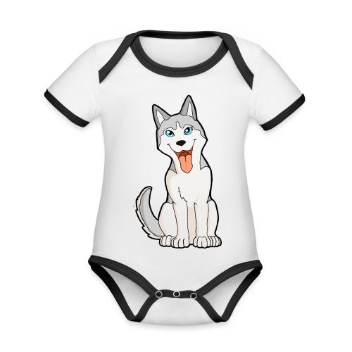 Husky grigio occhi azzurri - Body da neonato a manica corta, ecologico e in contrasto cromatico