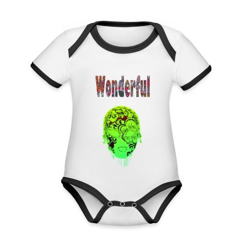 Maske mit Wonderful Schriftzug - Baby Bio-Kurzarm-Kontrastbody