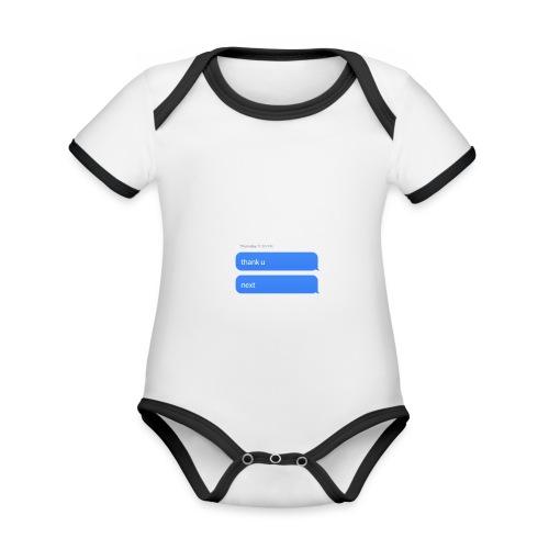 Thank u, next - Baby contrasterend bio-rompertje met korte mouwen