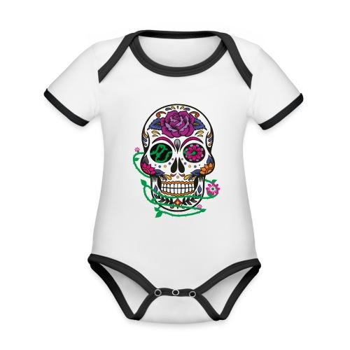 calavera 1 - Body contraste para bebé de tejido orgánico