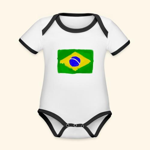 Brazilian flag InWatercolours - Ekologisk kontrastfärgad kortärmad babybody