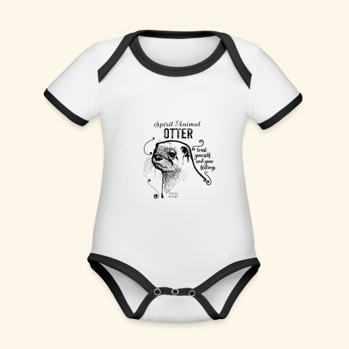 Spirit Animal Otter schwarz - Baby Bio-Kurzarm-Kontrastbody