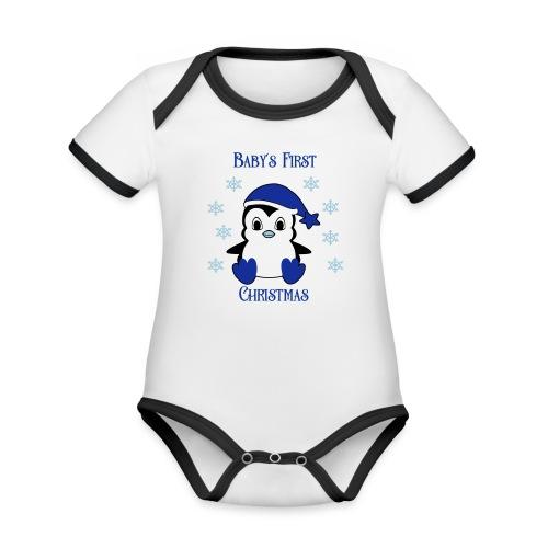 Penguin boy first christmas - Baby contrasterend bio-rompertje met korte mouwen