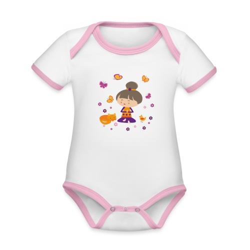 Happy Meitli - Yoga und Meditation - Baby Bio-Kurzarm-Kontrastbody